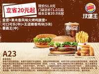 A23 皇堡+果木香风味火烤鸡腿堡+可口可乐(中)+王道嫩香鸡块5块+薯霸王(中) 2019年3月4月5月凭汉堡王优惠券51元 省20元起