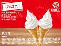 A14 火炬冰淇淋(香草)2个 2020年5月6月7月凭汉堡王优惠券5元