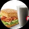 E4 早餐 熏鸡法风烧饼+黑Pro豆浆 2017年10月凭肯德基优惠券12元