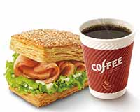 E5 早餐 熏鸡法风烧饼+美式现磨咖啡中杯 2018年4月5月凭肯德基优惠券13元