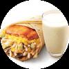 E2 早餐 大饼卷香烤鸡扒蛋+醇豆浆(热) 2019年11月凭肯德基早餐优惠券15元
