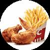 新奥尔良烤翅2块+薯条(小) 2021年4月凭肯德基优惠券18元