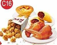 C16 两人小食组 新奥尔良烤翅2块+劲爆鸡米花(小)+红豆派1个+葡式蛋挞(经典) 2017年1月凭肯德基优惠券26元