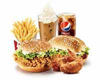 C15 香辣鸡腿堡+新奥尔良烤鸡腿堡+新奥尔良烤翅+薯条(大)+百事可乐(中)+雪顶咖啡 2018年9月凭肯德基优惠券66元