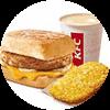 E1 早餐 芝士豬柳帕尼尼+熱豆漿+薯餅 2020年2月3月憑肯德基早餐優惠券14元