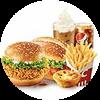 C17 香辣雞腿堡+奧爾良烤雞腿堡+葡式蛋撻+薯條(大)+百事可樂(中)+雪頂咖啡 2020年2月憑肯德基優惠券70元