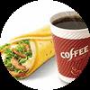 E4 早餐 熏鸡麦饼被蛋卷+美式现磨咖啡(中) 2017年3月4月凭肯德基优惠券12元