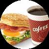 E5 早餐 培根蛋法风烧饼+美式现磨咖啡(中) 2017年3月4月凭肯德基优惠券12元