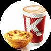 C41 下午茶 葡式蛋撻+拿鐵(中)(熱/冰)含榛果/香草風味 2020年2月憑肯德基優惠券21元