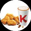 C39 下午茶 黃金雞塊+風味拿鐵(中)(熱/冰)含香草/榛果風味 2020年4月憑肯德基優惠券24元