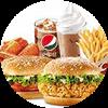 C13 分享两人餐 香辣鸡腿堡+新奥尔良烤鸡腿堡+新奥尔良烤翅2块+大薯条+中可乐+雪顶咖啡 2017年4月凭肯德基优惠券64元