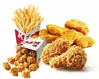 C12 两人小食组 香辣鸡翅2块+黄金鸡块5块+薯条(中)+劲爆鸡米花(小) 2017年4月凭肯德基优惠券33元