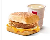 E4 早餐 芝士猪柳帕尼尼+醇豆浆(热) 2019年9月凭肯德基早餐优惠券11元