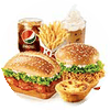 两人套餐 新奥尔良烤鸡腿堡+香辣鸡腿堡+葡式蛋挞(经典)+薯条(大)+雪顶咖啡+百事可乐(中) 2020年7月凭肯德基优惠券72元