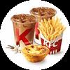 双人小食餐 薯条(小)+蛋挞+中杯拿铁+中杯风味拿铁 2020年9月凭肯德基优惠券44元