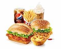 堡堡双人套餐 新奥尔良烤鸡腿堡+香辣鸡腿堡+蛋挞+薯条+雪顶咖啡+可乐 2021年2月凭肯德基优惠券73元