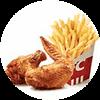 新奥尔良烤翅2块+薯条(小) 2021年1月凭肯德基优惠券18元